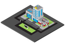 Vector isometric of hospital building with ambulance van Stock Image