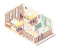 Vector isometric hostel room stock photo