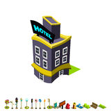 Vector isometric hotel building icon Royalty Free Stock Images