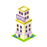 Vector isometric hotel building icon Stock Photo