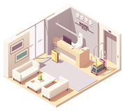 Vector isometric hotel reception royalty free stock images