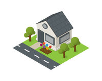 Vector isometric house building icon Stock Photography