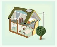 Vector isometric house cutaway icon Royalty Free Stock Image