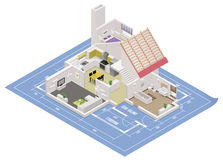 Vector isometric house cutaway icon Stock Photo