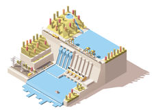 Vector isometric hydro power plant infographic Stock Photo