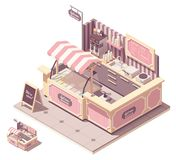 Vector isometric ice cream kiosk stock photography