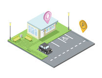 Vector isometric ice cream shop with parking and place for rest, pin geotag Stock Photography