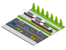 Vector isometric icon City Transport or infographic element tramway approaching tram station on the street with cars Royalty Free Stock Image
