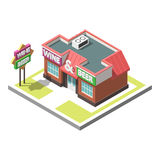 Vector isometric icon infographic 3d building. Alcoholic shop Royalty Free Stock Images