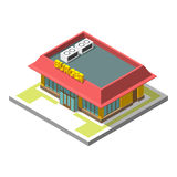 Vector isometric icon infographic 3d building. Burger Stock Image