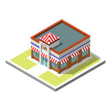 Vector isometric icon infographic 3d building. Cafe Stock Photos