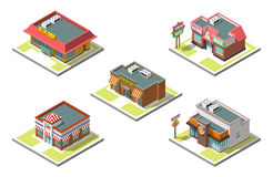 Vector isometric icon set infographic 3d buildings. Shops, cafe, pizza Royalty Free Stock Photography