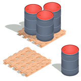 Vector isometric icons of barrels of oil on a wooden pallet. Vector 3D isometric illustration, icons of barrels of oil on a wooden pallet isolated on white Royalty Free Stock Images