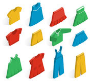 Vector isometric icons of clothes for girls. Isometric icon set children`s clothes for girls on white background with shadows. Collection of clothing. Vector 3d Royalty Free Stock Photo