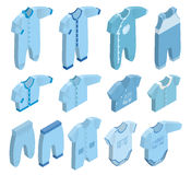 Vector isometric icons of newborn baby clothes for boys. Isometric icon set children`s clothes for newborn baby boy on white background. Overalls, shirt Royalty Free Stock Photo