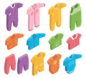 Vector isometric icons of newborn baby clothes. Royalty Free Stock Photography