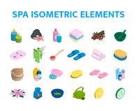 Vector isometric icons spa elements set. 3d realistic spa and massage salon objects collection. Candles, skincare. Facial mask, tea kettle, aromalamp and Royalty Free Stock Photography
