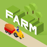 Vector isometric illustration of agricultural equipment. Tractor, word farm Royalty Free Stock Photo