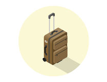 Vector isometric illustration of brown travel suitcase Royalty Free Stock Photography