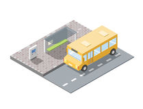 Vector isometric illustration of bus station with ticket sell terminal Royalty Free Stock Photo