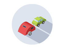 Vector isometric illustration of Camping trailer with car. Transport for travel icon royalty free illustration