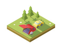 Vector isometric illustration of Camping trailer with car. Transport for travel icon. Camping place royalty free illustration