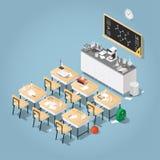Isometric Chemistry Classroom Illustration. Vector isometric illustration of chemistry class. Classroom laboratory with necessary equipment, student`s desks stock illustration