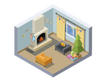 Vector isometric illustration of christmas eve room decoration. Stock Photography