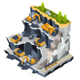 Vector isometric illustration coal mining quarry Stock Images