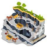Vector isometric illustration coal mining quarry Royalty Free Stock Image