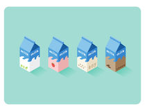 Vector isometric illustration of different flavor milk boxes Royalty Free Stock Photos