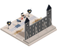Vector isometric illustration of a film set with a set of filmmaking elements. The scenery of an old castle, a camera, lighting equipment, a director s chair Royalty Free Stock Images