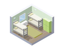 Vector Isometric illustration of hostel room. cheap hotel icon Royalty Free Stock Photos