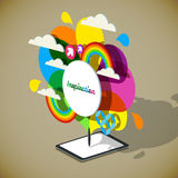 Vector isometric illustration of inspiration concept. Tablet PC Royalty Free Stock Photo