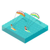 Vector isometric illustration of kite surfers. Man and woman Royalty Free Stock Images