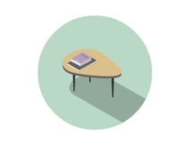 Vector isometric illustration of modern coffee table with book and magazine. Royalty Free Stock Photography