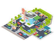Vector isometric illustration of a modern Italian fast food restaurant with parking and gas station. Isometric pizzeria with a giant pizza sign, Italian royalty free illustration