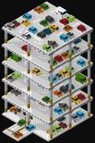 Multi storey car park. Vector isometric illustration of a multi storey car park and parked vehicles describing the internal structure of a multi-level parking Stock Image