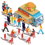 Vector isometric illustration people order and buy food and drink in a hamburger food truck. Street fast food Stock Photo