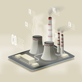 Vector isometric illustration of a plant polluting air. Environm. Ental pollution infographic.. EPS 10 file Royalty Free Stock Image