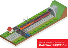 Vector isometric illustration of a railway junction. Railway junction consist of modern high speed train railway tunnel Stock Images
