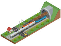 Vector isometric illustration of a railway junction. Railway junction consist of Rail covered wagon, Diesel Locomotive Stock Photos