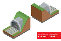Vector isometric illustration of  railway tunnel. A railway level crossing, with barriers closed and lights flashing. Royalty Free Stock Photos