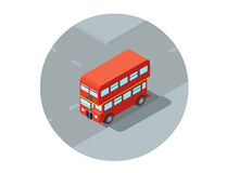 Vector isometric illustration of red double-decker Stock Photos