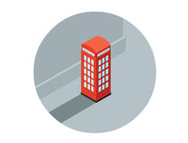 Vector isometric illustration of red phone booth, call-box Stock Photos