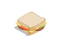 Vector isometric illustration of sandwich Royalty Free Stock Photos