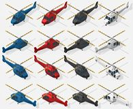 Set of helicopters. Royalty Free Stock Images
