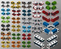 Vector isometric illustration of a set of motor transport. Front and rear view. Stock Images