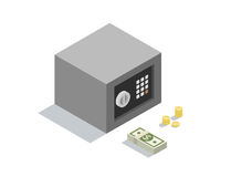 Vector isometric illustration of small money safe with coins end banknotes Royalty Free Stock Images
