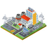 Vector isometric illustration of a thermal power plant for the production of electrical energy. To the smoke stacks of industrial buildings and power lines Stock Image
